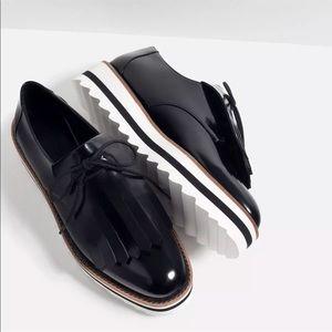 Zara Fringed Flat Shoe SZ 39 Oxford Blucher NWD